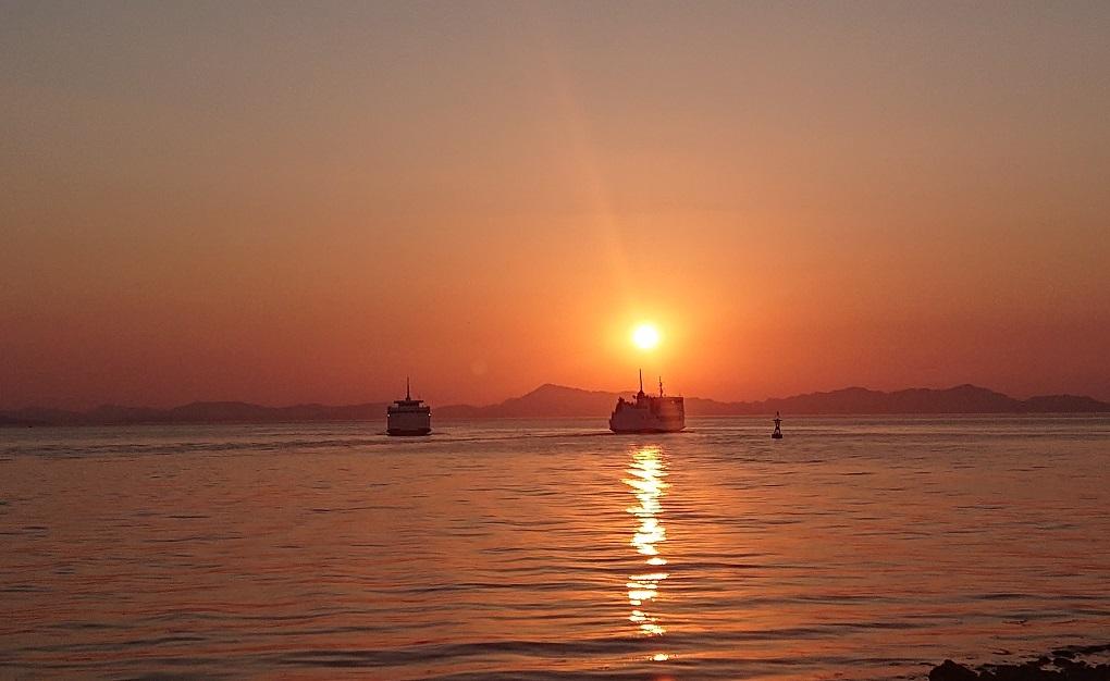 大谷地区からの夕陽